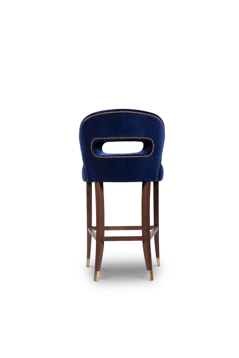 Nanook Bar Chair in Cotton Velvet with Wood and Brass Detail In New Condition For Sale In New York, NY