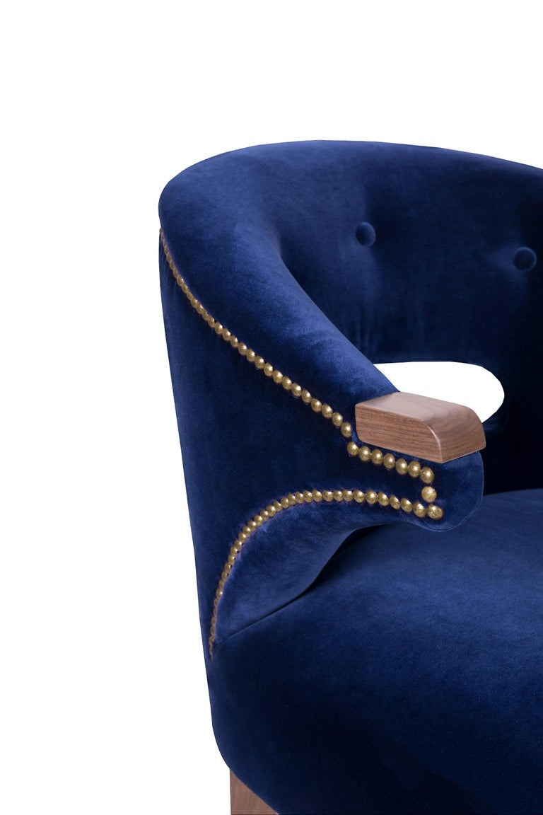 Contemporary Nanook Bar Chair in Cotton Velvet with Wood and Brass Detail For Sale