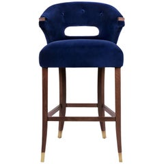 Brabbu Nanook Bar Chair in Blue Cotton Velvet with Wood and Brass Detail