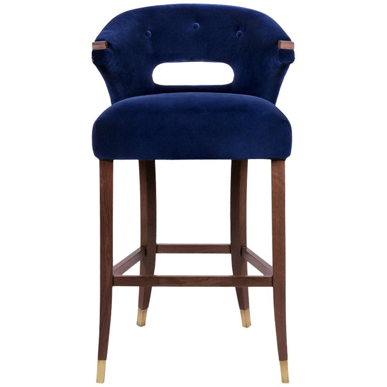 Nanook Bar Chair in Cotton Velvet with Wood and Brass Detail For Sale