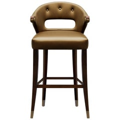 Nanook Counter Stool in Faux Leather And Bronze Renaissance Nails