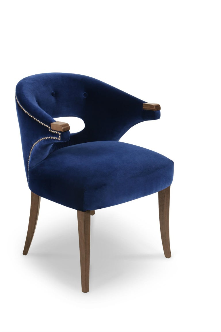 Mid-Century Modern Nanook Dining Chair in Cotton Velvet with Wood Detail For Sale