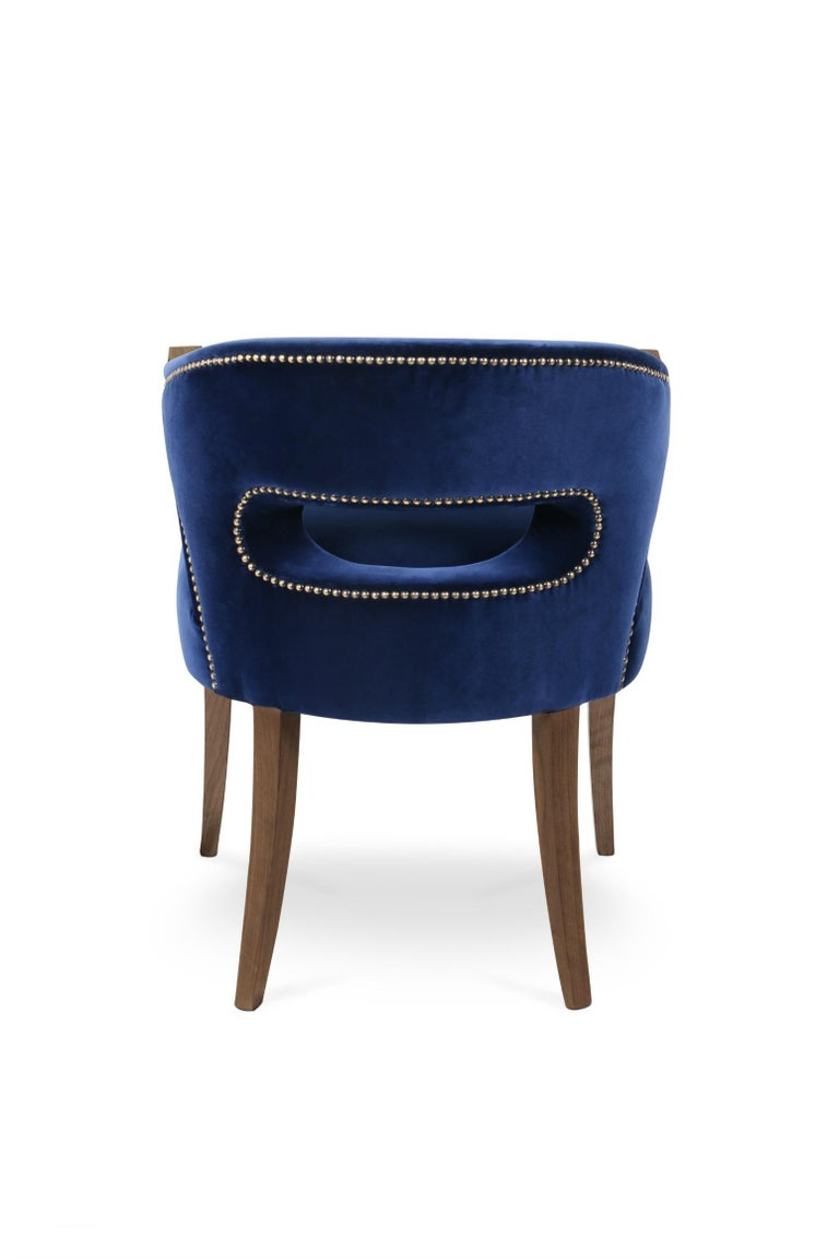 Portuguese Nanook Dining Chair in Cotton Velvet with Wood Detail For Sale