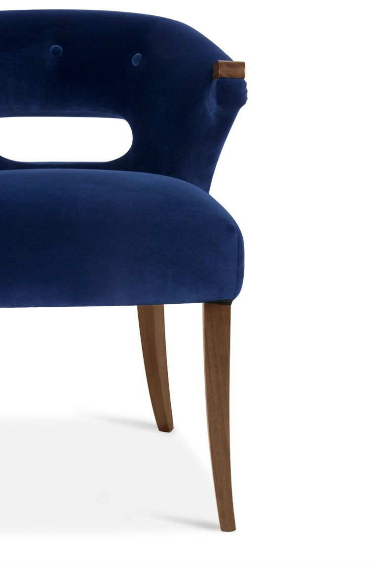 Nanook Dining Chair in Cotton Velvet with Wood Detail In New Condition For Sale In New York, NY