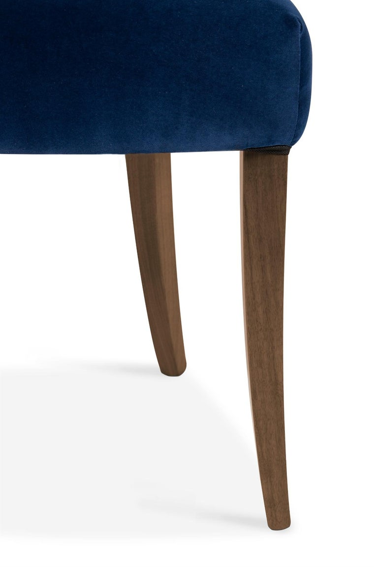 Contemporary Nanook Dining Chair in Cotton Velvet with Wood Detail For Sale