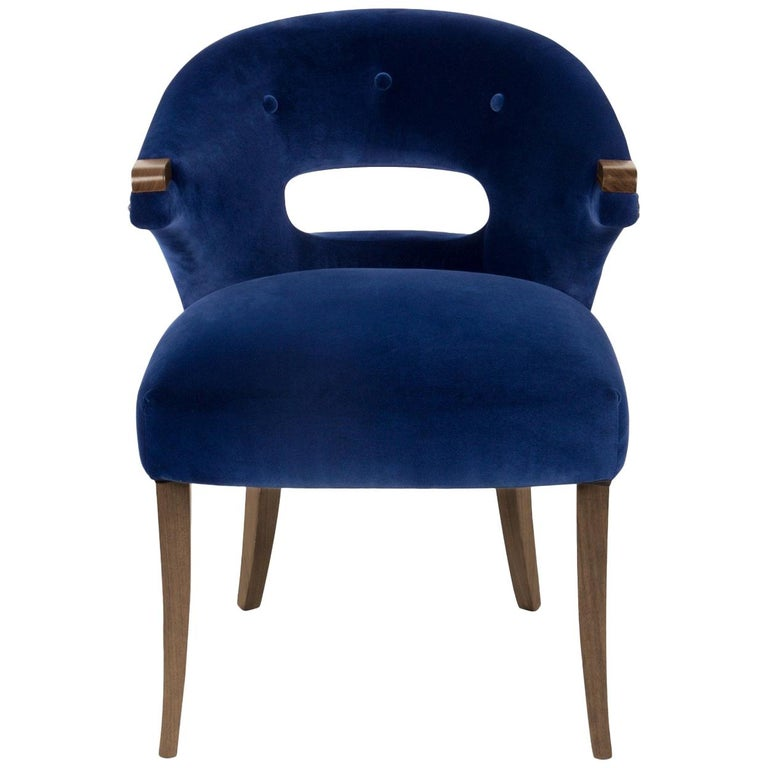 Nanook Dining Chair in Cotton Velvet with Wood Detail For Sale