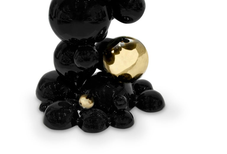 Portuguese Brabbu Newton Free Stand in Black Lacquer with Brass and Gold Details For Sale