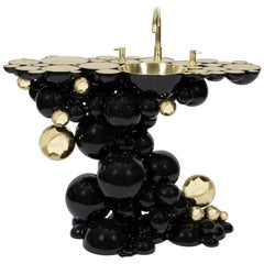 Brabbu Newton Washbasin in Black Lacquer with Brass and Gold Details