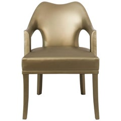 Nº 20 Dining Chair in Faux Leather With Aged Brass Nails