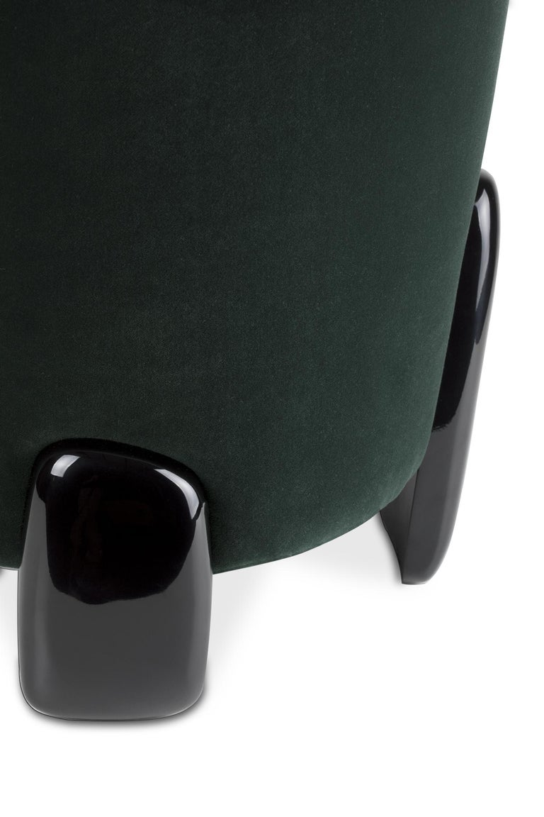 Brabbu Noaki Stool in Emerald Velvet with Black Lacquer Base For Sale 1