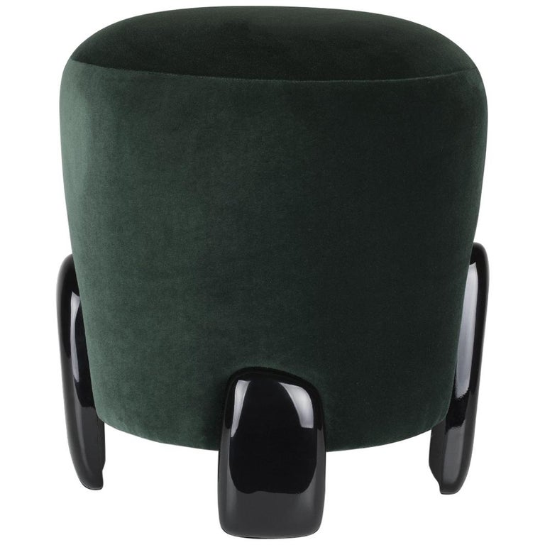 Brabbu Noaki Stool in Emerald Velvet with Black Lacquer Base For Sale