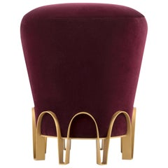 Nui Stool in Mulberry Velvet with Brass Base