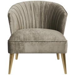 Nuka Armchair in Cotton Velvet with Gold Details