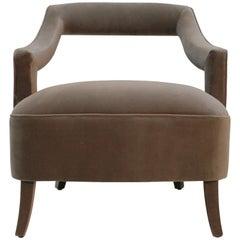Brabbu Oka Armchair in Taupe Cotton Velvet