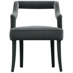 Oka Dining Chair in Cotton Velvet With Fully Upholstered Legs