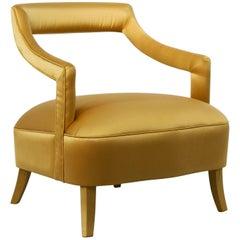 Brabbu Oka Rare Armchair in Gold Cotton Velvet