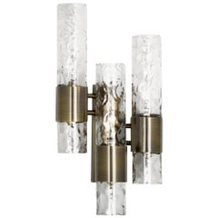 Ombak Sconce in Aged Brass with Brown Glass Diffuser