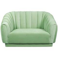 Oreas Single Sofa in Cotton Velvet And Fully Upholstered Legs