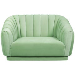 Brabbu Oreas Single Sofa & Armchair in Mint Green Cotton Velvet