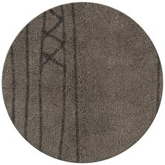 Papua Circular Hand-Knotted Dyed Wool Rug ii in Brown Gradient