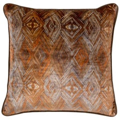Brabbu Peafowl I Pillow in Orange Velvet
