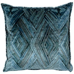 Brabbu Peafowl II Pillow in Blue Velvet