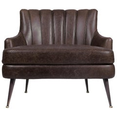 Plum Armchair in Leather And Matte Aged Brass
