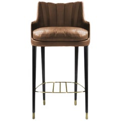 Plum Counter Stool in Faux Leather With Glossy Aged Brass Details