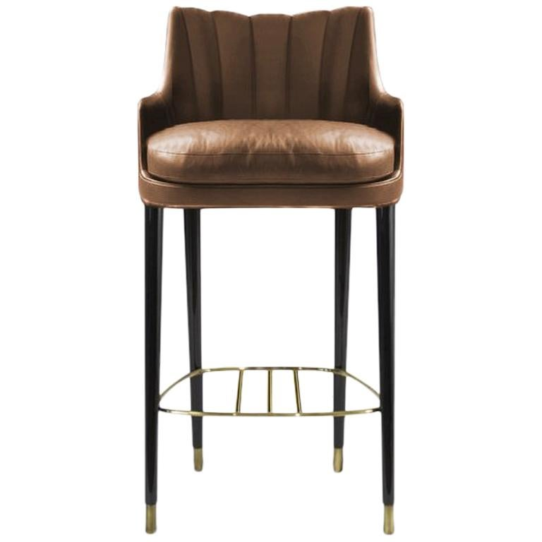 Plum Counter Stool In Light Brown Faux Leather
