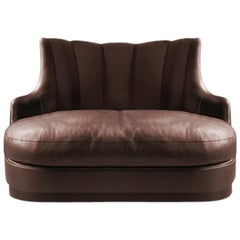 Plum Single Sofa in Faux Leather with Fully Upholstered Legs