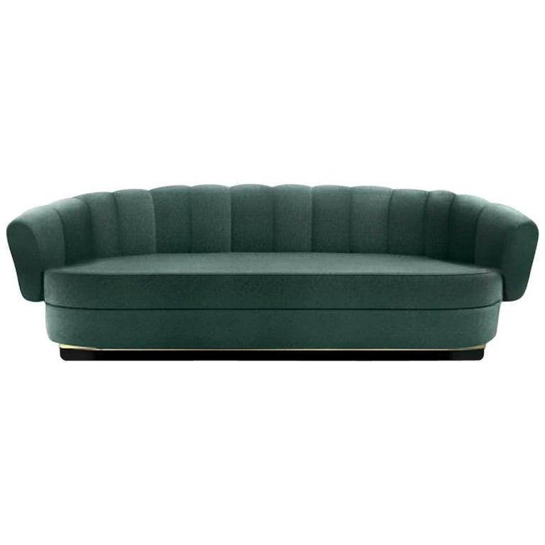 Brabbu Powel Sofa in Teal Green Cotton Velvet For Sale