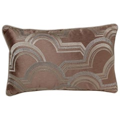 Brabbu Rectangular Arco a Volta Pillow in Brown Satin