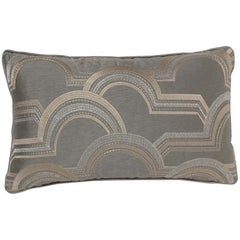 Brabbu Rectangular Arco A Volta Pillow in Gray Satin