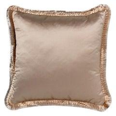 2 Brabbu Renaissance Pillow in Gold Satin with Fuzzy Trim