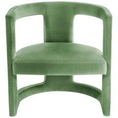 Brabbu Rukay Bold Armchair in Green Cotton Velvet