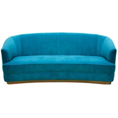 Brabbu Saari Sofa in Bright Blue Cotton Velvet with Brass Base