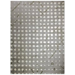 Sami Hand-Knotted Dyed Wool Rug in Gray with White Dots