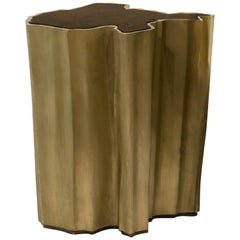 Sequoia Small Side Table in Wood with Brass Base