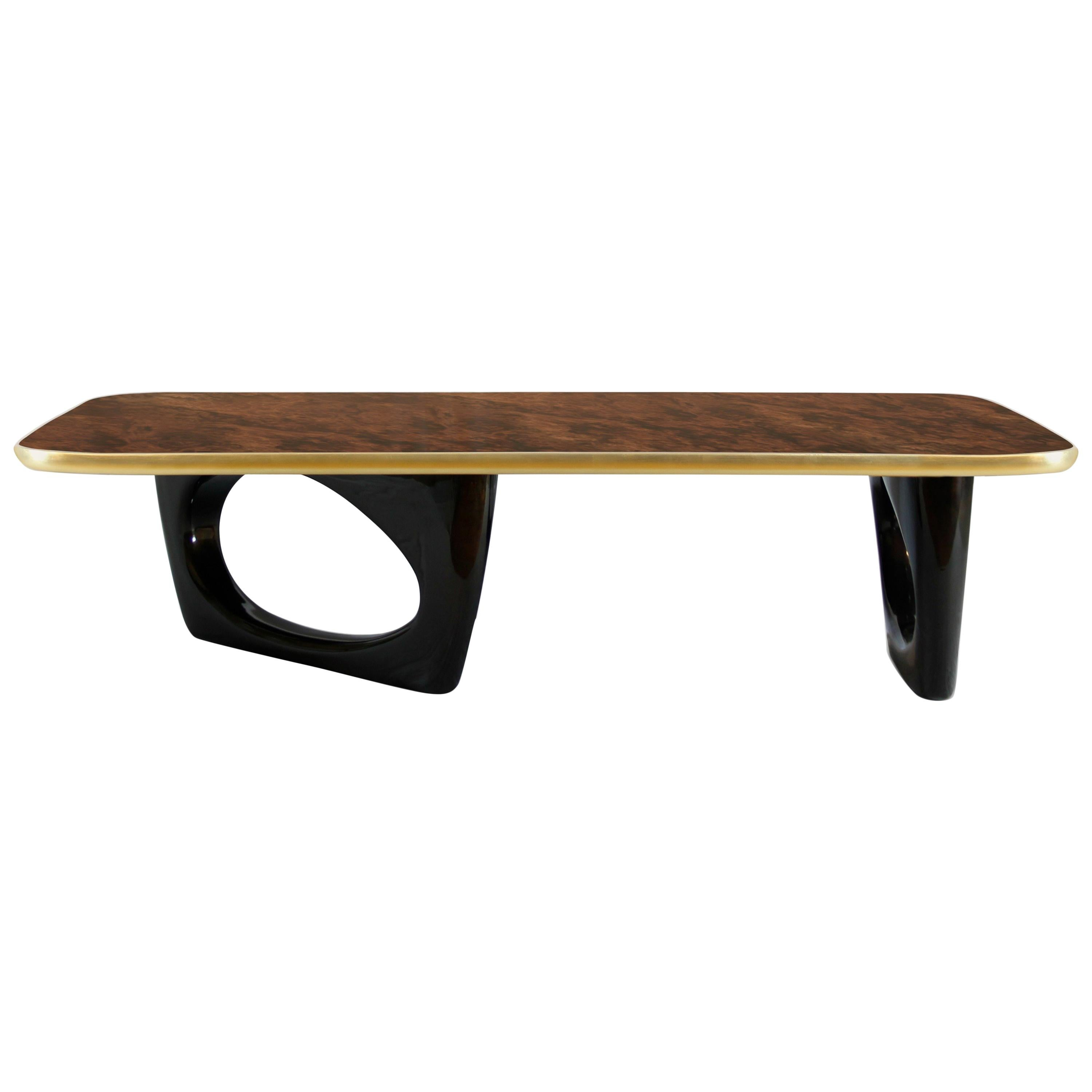 Sherwood Center Table in Wood with Lacquer and Gold Details