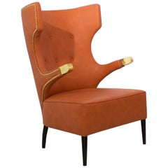 Sika Armchair in Faux Leather With Golden Polished Nails