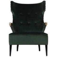 Brabbu Sika Rare III Armchair in Green Velvet with Brass Details