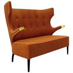 Sika Sofa in Faux Leather with Polished Brass Detail