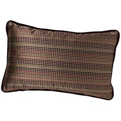 Brabbu Skitter Pillow in Brown Satin with Checkered Pattern