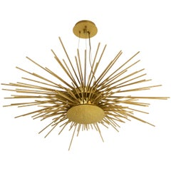 Soleil Suspension Light in Hammered Brass