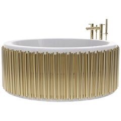 Brabbu Symphony Bathtub in White with Gold Brass Details