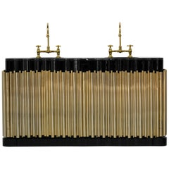 Brabbu Symphony Washbasin in Black Marble and Gold-Plated Brass