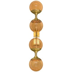 Brabbu Syrad Wall Sconce in Brushed Brass and Bronze Glass