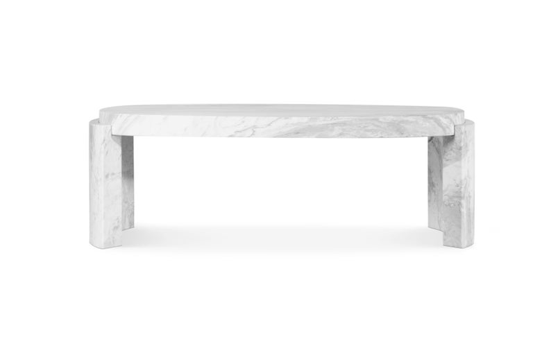 Mid-Century Modern Tacca Centre Table in White Carrara Marble For Sale