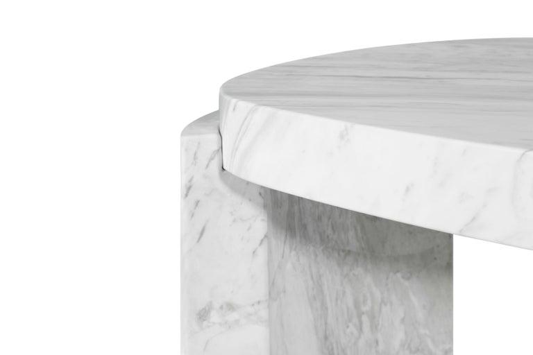 Portuguese Tacca Centre Table in White Carrara Marble For Sale