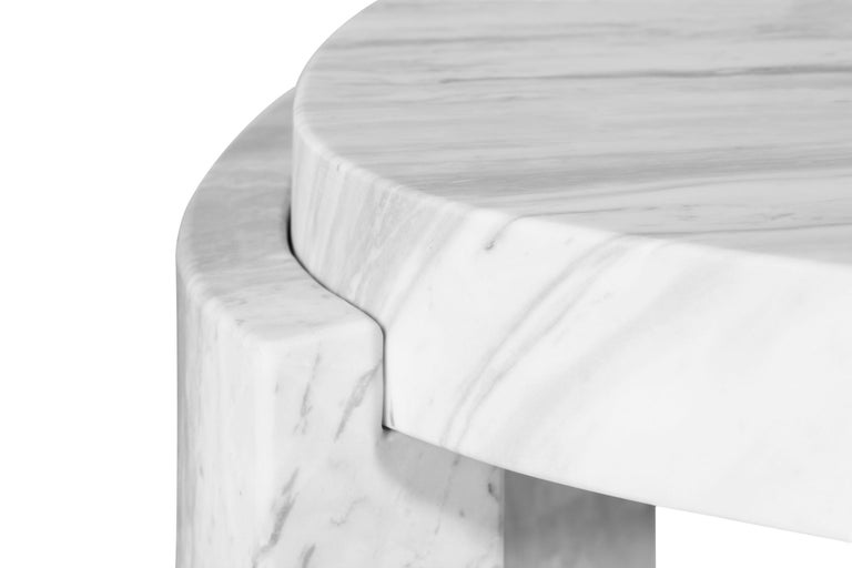 Contemporary Tacca Centre Table in White Carrara Marble For Sale